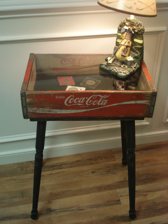 Sale vintage coca cola crate shadow box table for Diy shadow box table