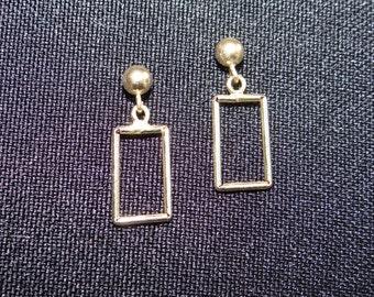 14K Gold Rectangle Earring
