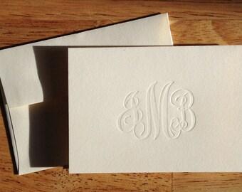 Letterpress Script Monogram Social Stationery, set of 25