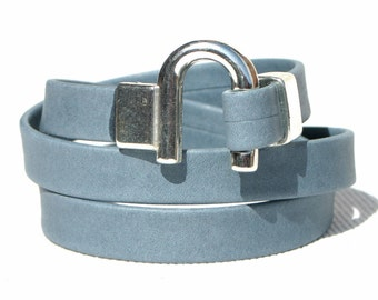 Leather Bracelet Wrap Blue Grey