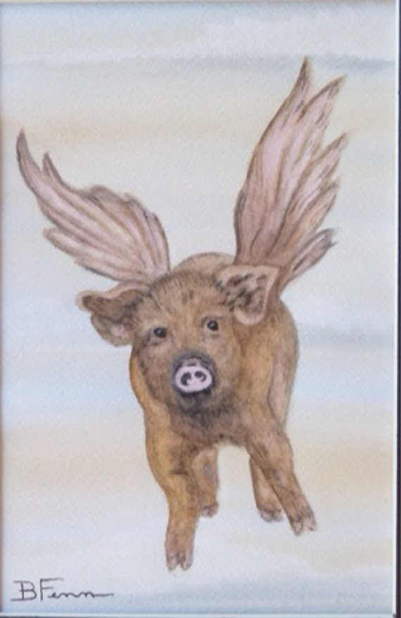When Pigs Fly (tan with pink wings) - Pig painting - Original ...