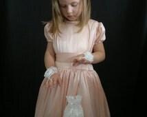 Crochet Flower Girl Accessory Set, Crochet Mittens & Purse, White, 100% Cotton.