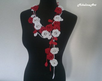Crochet Rose Necklace,Crochet Neck Accessory, Flower Necklace, Red & White, 100% Cotton.