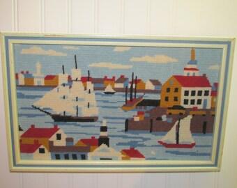 Vintage Cross Stitched Boston Harbor 1982