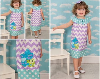 Monsters Inc Applique Ruffle Neck Peasant  Dress, Sizes 12mo-8