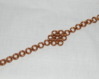 Bronze 12-in-2 chainmaille flower bracelet