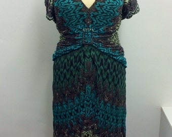 Missoni orange label teal, grey and the palest green dress