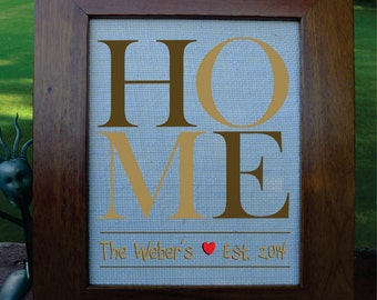 Home, Welcome Home, New Home, Housewarming Gift, Husband, Wife, Wedding, Vintage, Name, Personalized.  (H01)