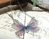 Pretty purple rainbow Faerie wings small Necklace