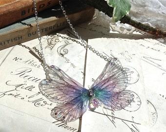 Pretty purple rainbow Faerie wing s small Necklace