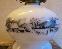Milk Glass Oil Lamp Vintage Hurricane Currier & Ives Country Farm Scene