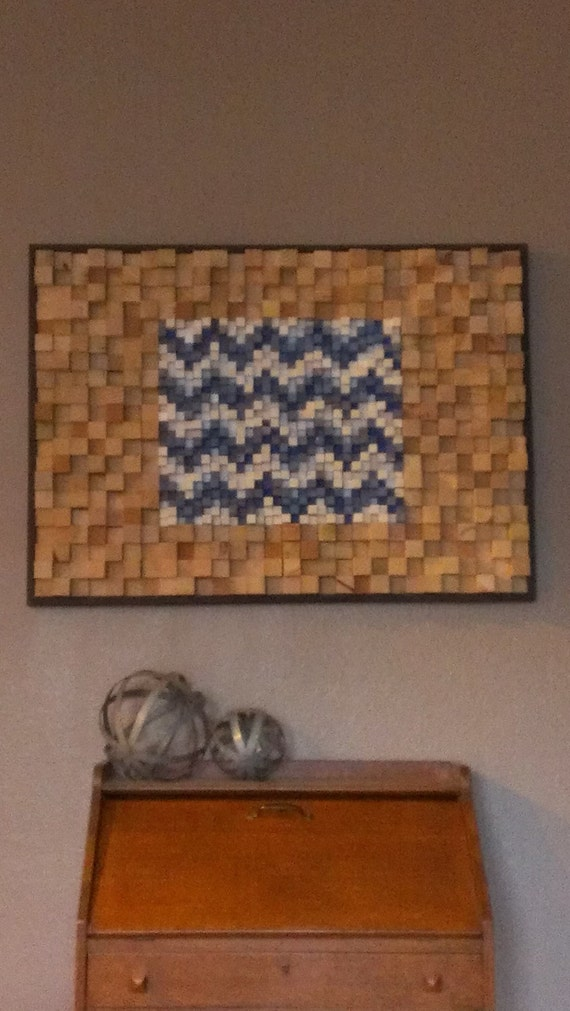 Chevron Wood Wall Decor : Blue and white chevron pattern home decor wooden wall art wood