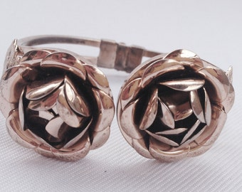 Vintage Metal Rose Bracelet Hinged - Wedding, Bride, Bridal Jewelry, Maid of Honor, Mother of the Bride