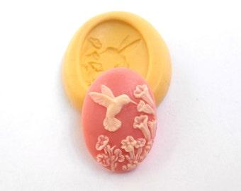 Bird Cameo Mold Mould Resin Clay Fondant Wax Soap Fimo Cabochon Flexible Silicone Mold