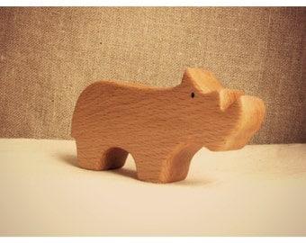 Waldorf inspired wooden animals: rhino