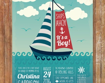PRINTABLE Ships Ahoy, It's A Boy! Baby Shower Invite