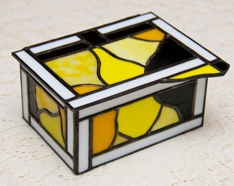 Yellow, Black, and White Stained Glass Heirloom Box