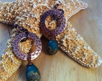 Rustic Copper Rings and Lamp Work Headpin Earrings
