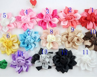 6 pcs Satin Ribbon Flower With  Rose , Satin Flowers ,Folded Ribbon Flower