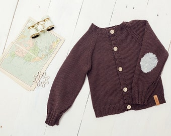 SALE 50% OFF Wool sweater for children, merino wool / Brown hand knitted cardigan for baby -kids/ Children sweater, top, jacket