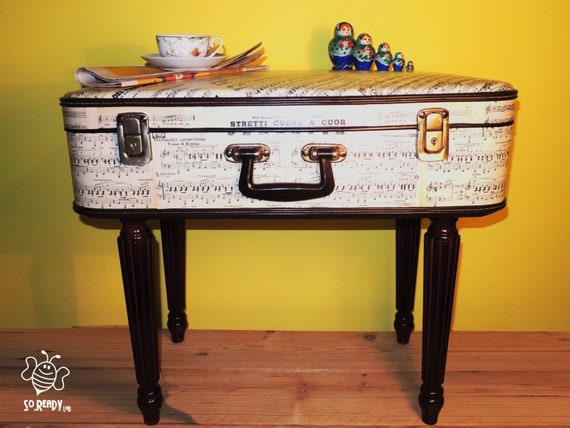 Vintage suitcase coffee table, coffee table, bedside bag, sheet music ...