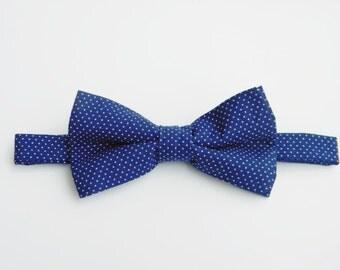 Boy bow Tie navy polka dot - fit most kids - wedding church christening photo prop photoshoot gentleman holiday