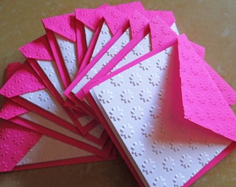 Blank Mini Embossed Card Set of 10 / Note Card Set/ Thank You Cards/ Stationery Card Set/ Mini Card Set/ Wedding favor tags/ Lunch Box Notes