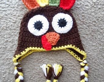 Crochet Thanksgiving Turkey Hat. Available in sizes: Newborn, 0-3 Mths, 3-6 Mths, 6-9 Mths, & 9-12Mths.