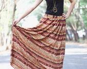 Long Brown Aztec Skirt, summer skirts, long maxi skirt, full length skirts, brown skirts for women, maternity long skirts, ruffle skirts