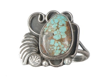 quality sterling & turquoise Southwest style ring with a fine stone