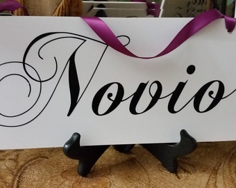 Novio and Novia Muchas Gracias Wedding Signs Double Sided Chair Hangers and Photo Props