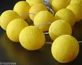 Yellow Cotton Balls String Lights Fairy Home Decor Party