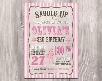 Cowgirl Birthday Invitation - Printable Cowgirl Birthday Invitation - Cowgirl Party Invite - Vintage Cowgirl Invitation - Wild West Party