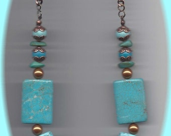 Turquoise Pillow Bead Necklace with Copper Pearl Accents