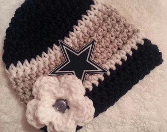 Crochet Baby Hat, Baby Football Hat, Crochet Beanie Hat in Dallas Gray and Navy Blue- Baby Photos - Newborn and Baby Sizes Available