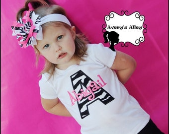 Zebra Initial with Hot Pink Name - Girls Applique Shirt or Bodysuit & Matching Hair Bow Set