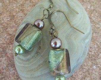 Portia - Foil glass and faux pearl earrings