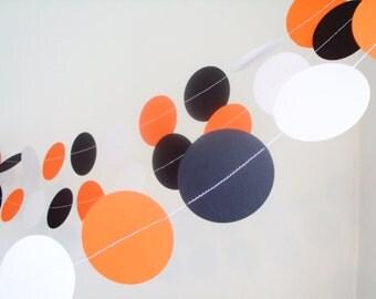 "orange and black paper garland 2""circle baby shower custom length black, orange,& white tiger baby shower party boys birthday party garland"