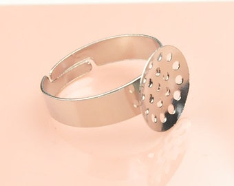 Silver Ring--25pcs Ring Base Adjustable with 12 mm Round Pad.
