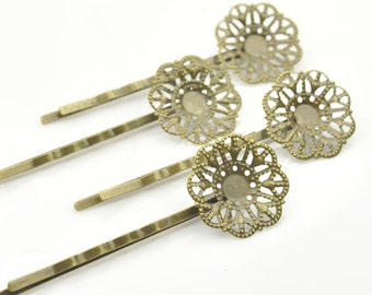 50Pcs Antique Bronze Hair Clips with 20mm filigree pad,Boby Pin,Flower Hairpin.