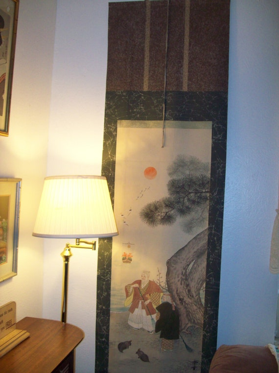 Antique Japanese Scroll Wall Hanging Brought from Japan after World War Two