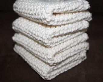 Knit Wash Cloth Set of 4, Knit Dish Cloth, Ivory Knit Wash Cloth, Ivory Knit Dish Cloth