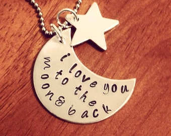 Love you to the Moon & Back Metal Stamped Necklace
