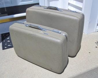 Large tan suitcase | Etsy