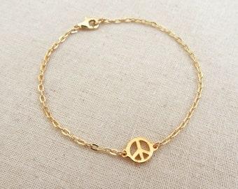 Peace Sign Bracelet, Peace Sign Charm Bracelet, Gold Peace Sign