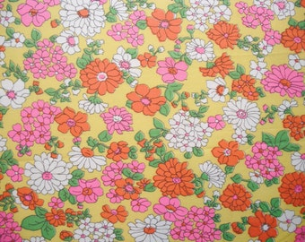 Vintage Fabric Fat Quarter - Bright Flowers on Yellow