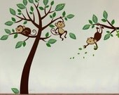 Monkeys On Branch Wall Decal