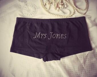 Personalised Underwear, Bridal Underwear in Diamante. Black Cotton Bespoke Wedding Knickers. Honeymoon Gift