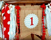 RED AND AQUA Birthday Age High Chair Highchair Birthday Banner/Party/Photo Prop/Bunting/Backdrop/Chair Banner/Custom/Sock Monkey/Red Wagon
