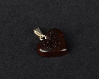 Natural Baltic Amber Cherry Pendant Heart